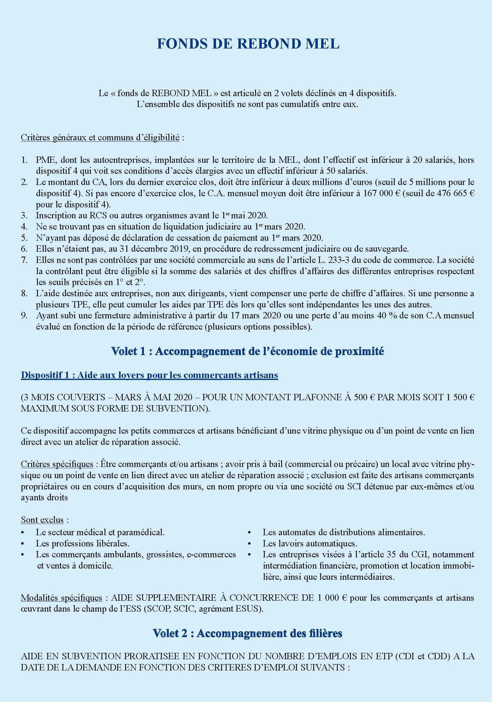 Fonds de rebond MEL, page 1